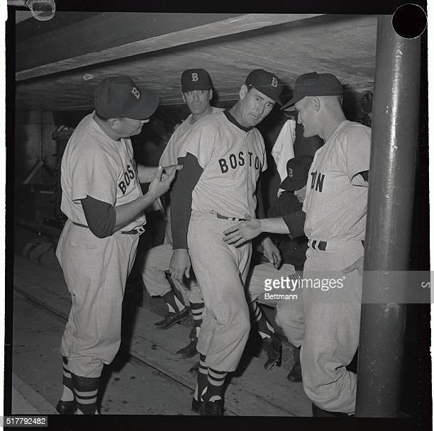 Ted Williams shows little emotion here after belting his second homer of the evening against the Indians August 10 1960 Mike Higgins Red Sox Manager...