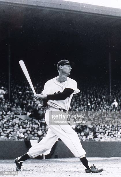 BOSTON C1946 Ted Williams takes a full swing during a game at Fenway Park in Boston sometime during the 1946 season