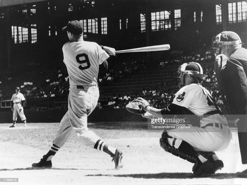Ted Williams Takes A Swing At A Pitch During A Game At