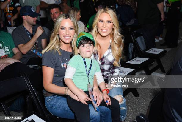 Teddi Mellencamp Cruz Arroyave and Gretchen Rossi attend the Monster Energy NASCAR Cup Series race at Auto Club Speedway at Auto Club Speedway on...