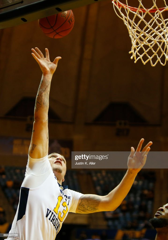 Teddy Allen #13 of the West Virginia Mountaineers lays on in against the N.J.I.T Highlanders at the WVU Coliseum on November 30, 2017 in Morgantown, West Virginia.