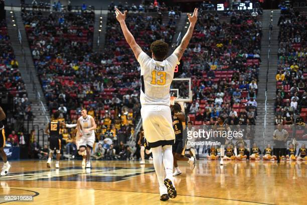 Teddy Allen of the West Virginia Mountaineers reacts after a play in the second half against the Murray State Racers during the first round of the...