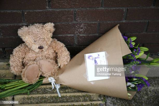 Teddy bear and flowers lay outside the OYO Metropolitan Hotel in Blonk Street, Sheffield, where a five year old Afghan refugee boy fell to his death...