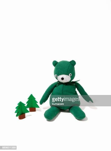 Teddy bear and tree made of felt