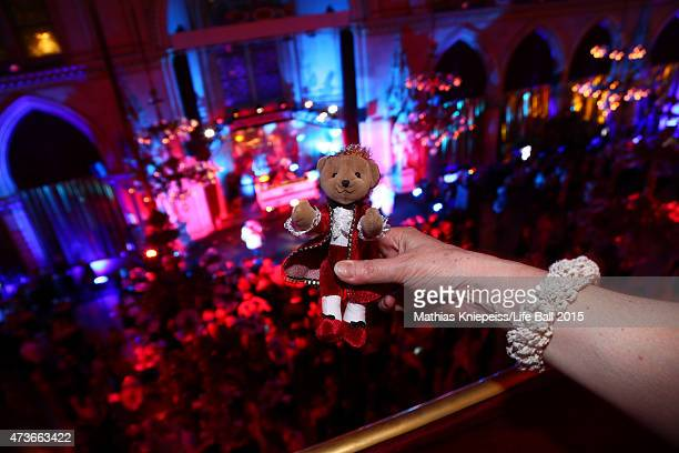 A teddy bear attends the Life Ball 2015 after show party at City Hall on May 16 2015 in Vienna Austria