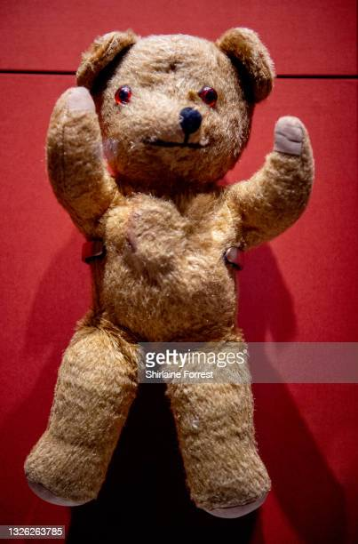Teddy bear belonging to Leo Marcus, whose son did not survive the holocaust, Leo brought the bear with him to Manchester and gave it to his new...