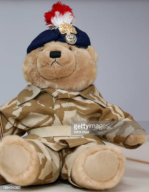 A teddy bear bought by murdered soldier Lee Rigby for his son Jack sits after a family statement was read out by his stepfather Ian Rigby during a...