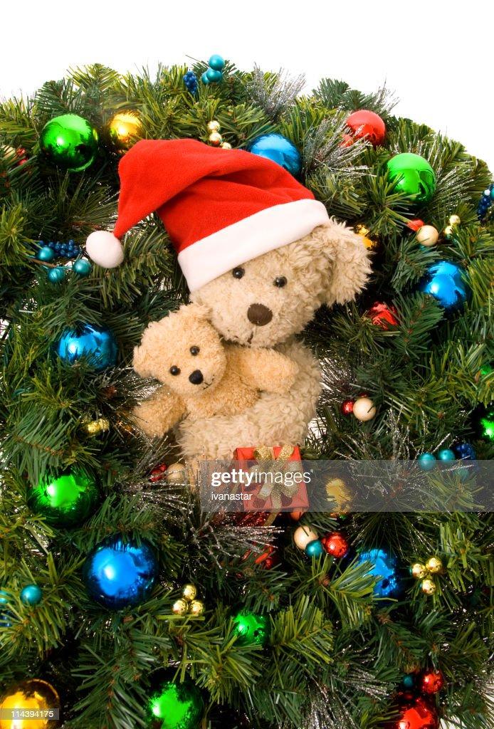 teddy bear christmas tree and ornaments stock photo