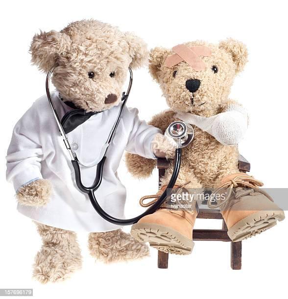 Teddy Bear Arzt mit Verletzten Patienten