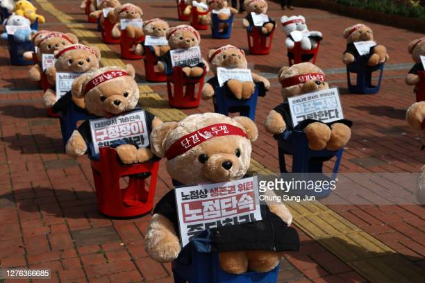 Teddy Bear dolls are placed in a manner imitating protesters during a street vendors protest against government's labor policy, on September 24, 2020...