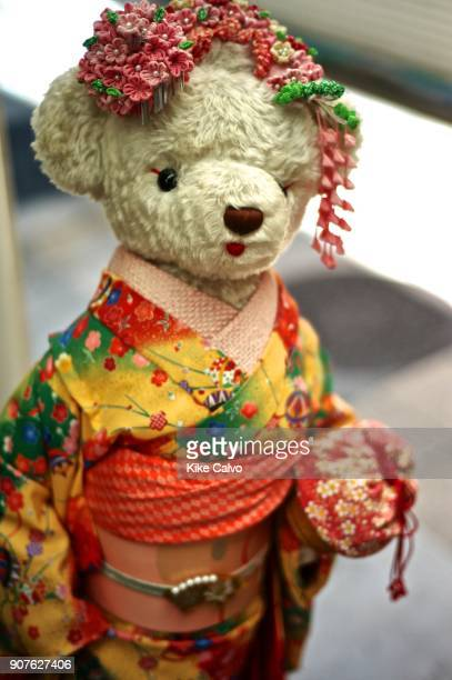 Teddy Bear dressed with the traditional Japanese kimono at Nishiki Market First starting as a fish market in 1615 Nishiki Market is a marketplace in...