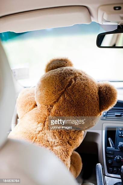 Teddy bear driving car