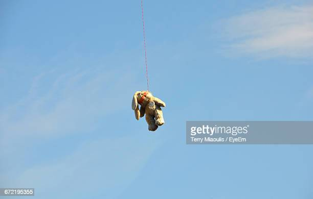 teddy bear hanging from telephone line against sky - hanging death photos stock pictures, royalty-free photos & images