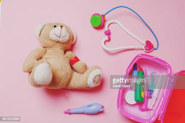 teddy bear  injured.Health concept.Topview