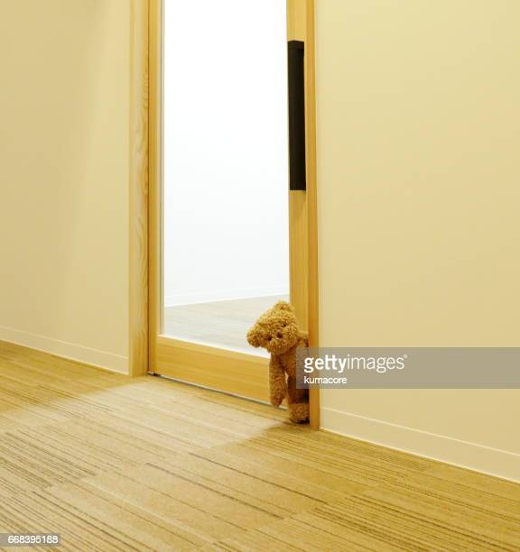 Teddy bear is open the door
