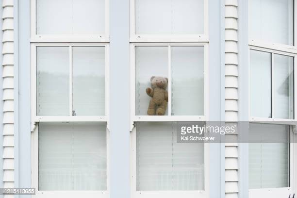 Teddy bear is seen in a window on March 29, 2020 in Christchurch, New Zealand. Inspired by the Michael Rosen children's book We're Going on a Bear...