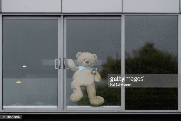 Teddy bear is seen in a window on March 29, 2020 in Lyttelton, New Zealand. Inspired by the Michael Rosen children's book We're Going on a Bear Hunt,...