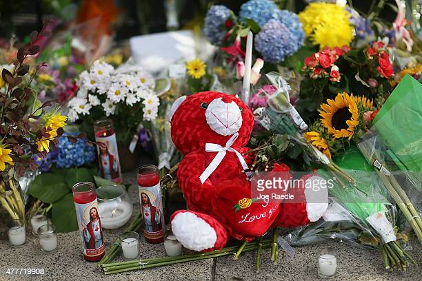 Teddy bear is seen in the memorial setup in front of Emanuel African Methodist Episcopal Church after a mass shooting at the church that killed nine...