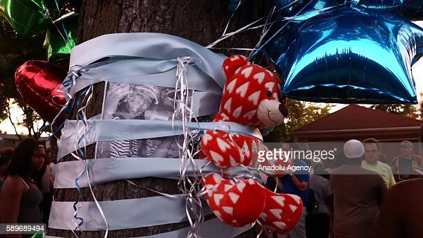 Teddy bear is seen on a tree during a commemoration ceremony, held for Sylville Smith, who was shot and killed by a police officer as he reportedly...