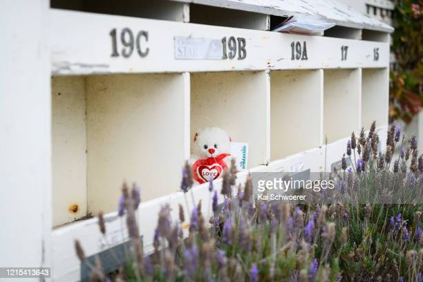 Teddy bear is seen on March 29, 2020 in Christchurch, New Zealand. Inspired by the Michael Rosen children's book We're Going on a Bear Hunt, teddy...