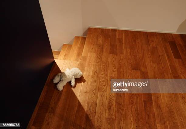 teddy bear lying in face down on floor - lying in state stock pictures, royalty-free photos & images
