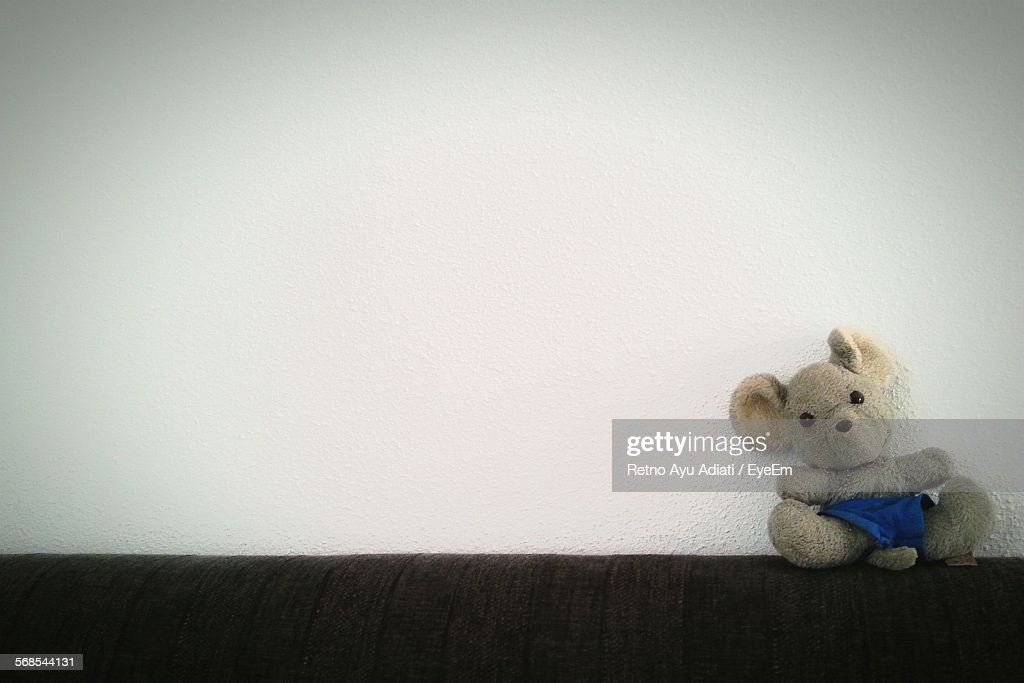 Teddy Bear On Top Of Sofa By Wall At Home : Stock Photo