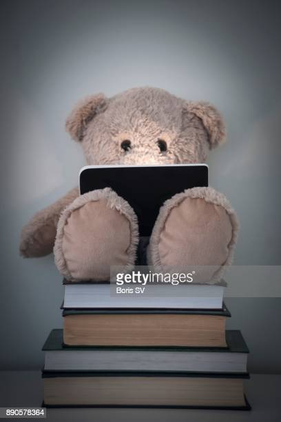 Teddy Bear reading an e-reader on top of thick books