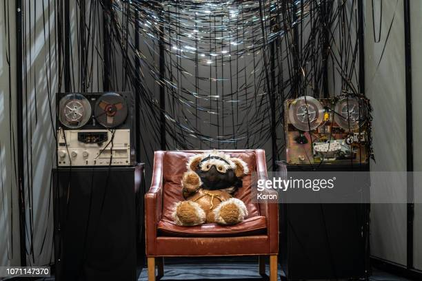 teddy bear scientist - recording studio stereotype - installation art stock pictures, royalty-free photos & images