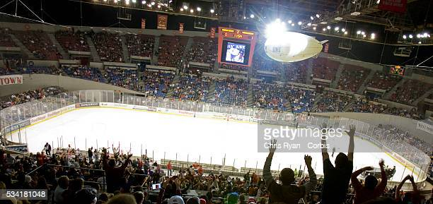 Teddy Bear Toss night at the Portland Winter Hawks vs Seattle Thunderbirds game at Memorial Coliseum in Portland Ore Fans bring Teddy Bears which...