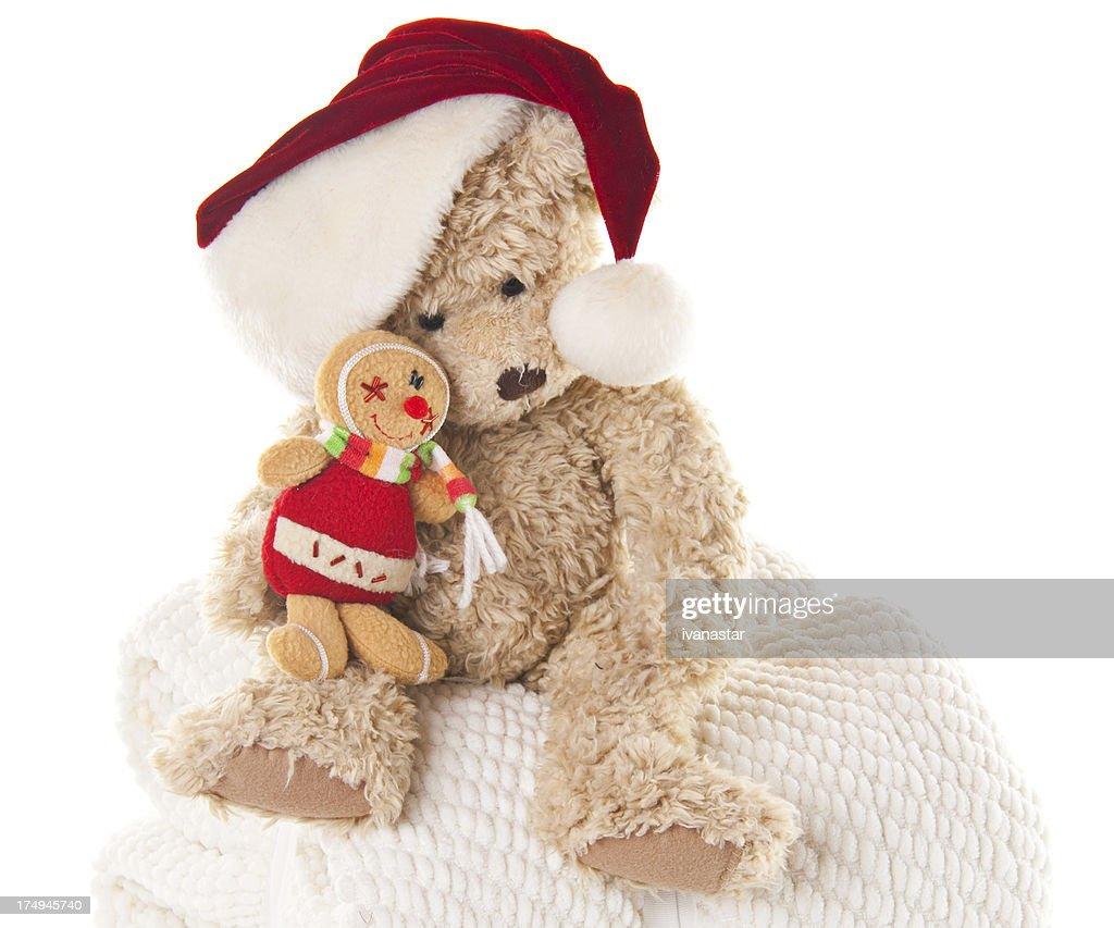 4b8f1fb9ce7c5 Teddy Bear Wearing Santa Hat with Gingebread Man   Stock Photo
