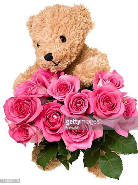 Teddy Bear with Happy Smiling Face Holding Roses