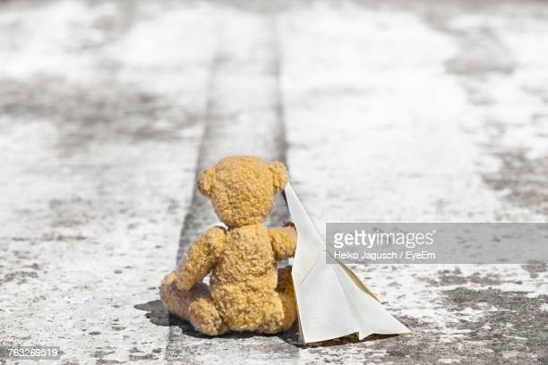 Teddy Bear With Paper Airplane On Street