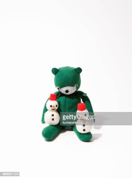 Teddy bear with snowman