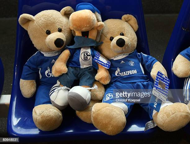 Teddy bears and the official mascot Erwin are seen at the fanshop of FC Schalke 04 before the Bundesliga match between FC Schalke 04 and Hertha BSC...