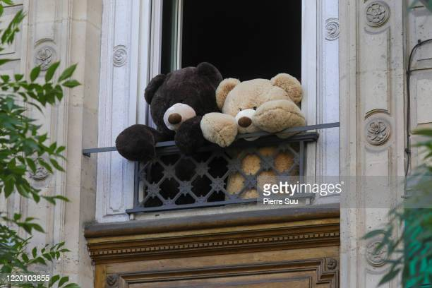Teddy bears are displayed at a window in the 'Les Gobelins' area ,the bears, known as Les Nounours Des Gobelins , are believed to have been...