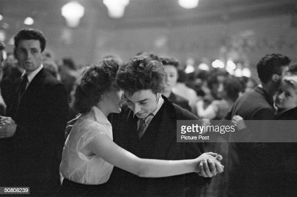 A 'Teddy Boy' dances with his girl at the Mecca Dance Hall in Tottenham London 29th May 1954 Picture Post 7169 The Truth About The 'Teddy Boys' pub...