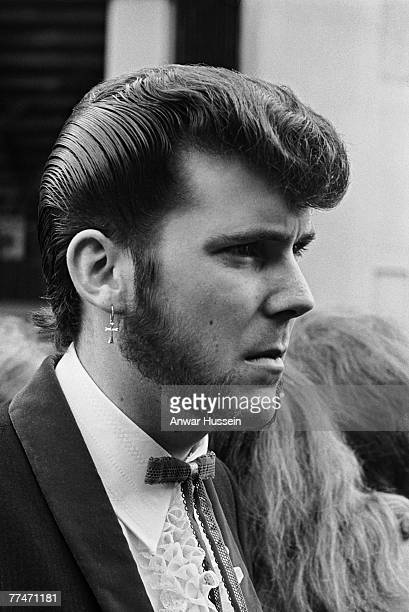 Teddy boy sports an immaculate quiff and 'Slim Jim' tie during the London Rock 'n' Roll Revival at Wembley Stadium, 5th August 1972.