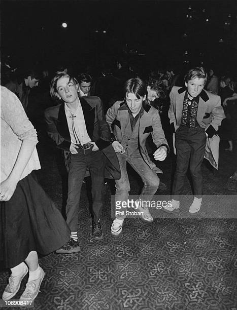 Teddy boys at a dance, 13th April 1976.