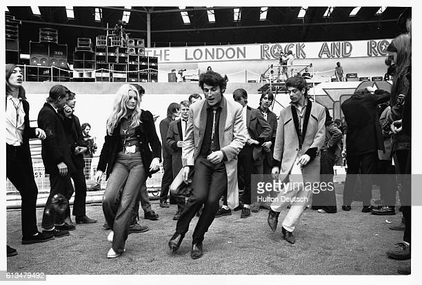 Teddy boys at a rock 'n' roll revival show staged at Wembley
