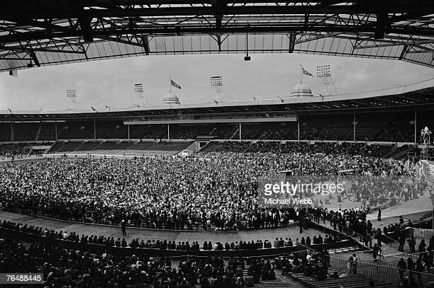 Teddy Boys hippies Rockers and Hell's Angels gathered at Wembley Stadium for a Rock 'n' Roll revival show 5th August 1972