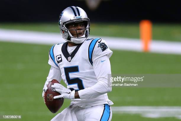 Teddy Bridgewater of the Carolina Panthers in action against the New Orleans Saints during a game at the Mercedes-Benz Superdome on October 25, 2020...