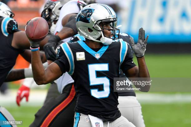 Teddy Bridgewater of the Carolina Panthers looks to pass against the Tampa Bay Buccaneers during their NFL game at Bank of America Stadium on...