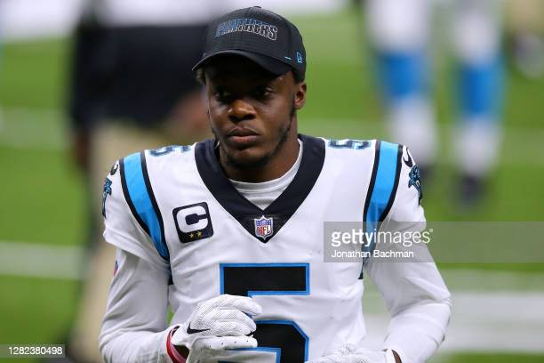 Teddy Bridgewater of the Carolina Panthers reacts against the New Orleans Saints during a game at the Mercedes-Benz Superdome on October 25, 2020 in...