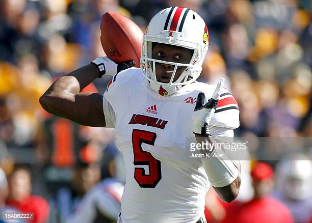 Teddy Bridgewater of the Louisville Cardinals drops back to pass against the Pittsburgh Panthers during the game on October 13 2012 at Heinz Field in...