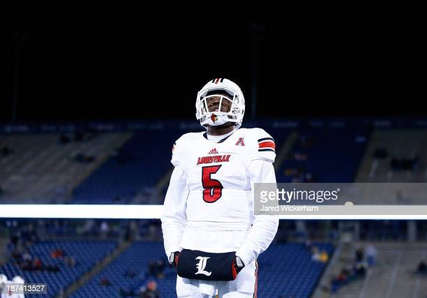 Teddy Bridgewater of the Louisville Cardinals warms up prior to the game against the Connecticut Huskies at Rentschler Field on November 8 2013 in...