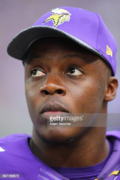 Teddy Bridgewater of the Minnesota Vikings looks on from the sidelines in the third quarter against the San Diego Chargers at US Bank stadium on...