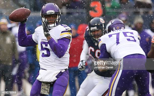 Teddy Bridgewater of the Minnesota Vikings looks to pass during the first quarter of a game against the Chicago Bears at Soldier Field on November...