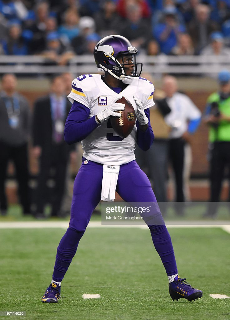 Teddy Bridgewater #5 of the Minnesota Vikings looks to throw a pass during the game against the Detroit Lions at Ford Field on October 25, 2015 in Detroit, Michigan. The Vikings defeated the Lions 28-19.