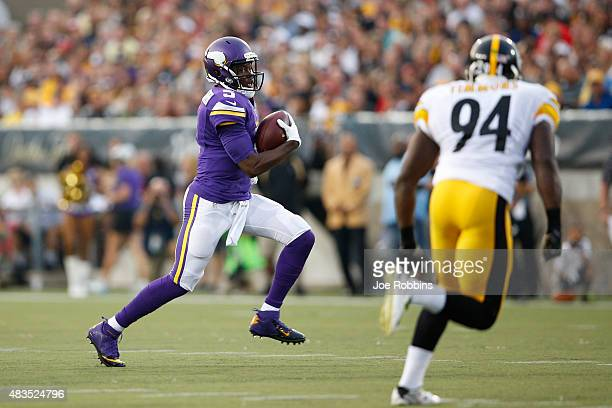 Teddy Bridgewater of the Minnesota Vikings runs with the ball in the first quarter of the NFL Hall of Fame Game against the Pittsburgh Steelers at...