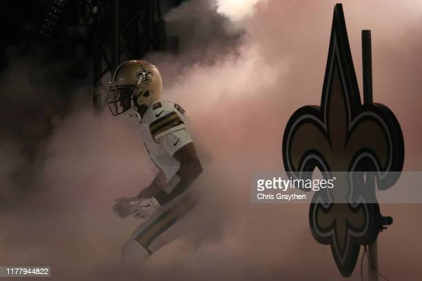 Teddy Bridgewater of the New Orleans Saints enters the field prior to the game against the Dallas Cowboys at Mercedes Benz Superdome on September 29,...